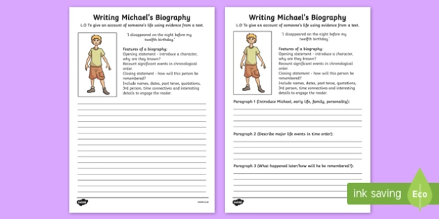 Kensuke's Kingdom Michael Biography Writing Frame - writing aid
