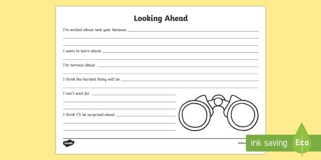 Looking Ahead Activity Sheet - End of Year, Back to School, Australia, end of year, looking ahead, look ahead, binoculars, workshee