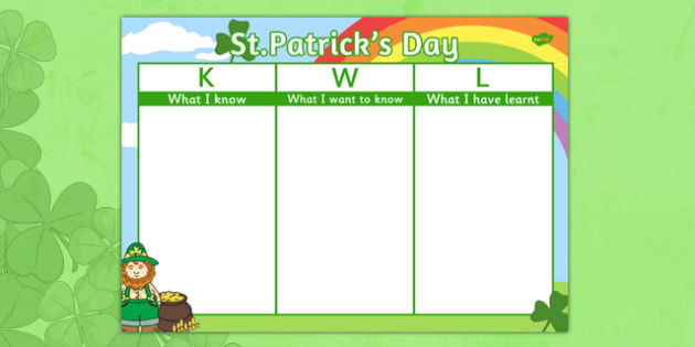 St Patrick's Day Topic KWL Grid - st patrick's day, kwl, grid, know