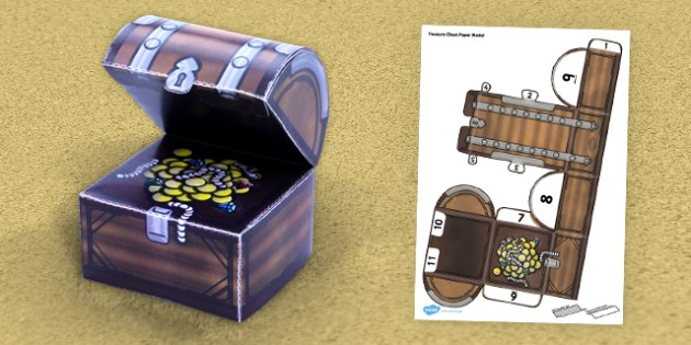 Treasure Chest Paper Model - treasure chest, paper, model, craft