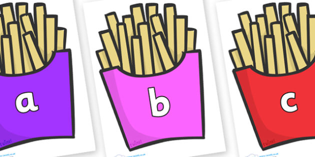 Phase 2 Phonemes on French Fries - Phonemes, phoneme, Phase 2, Phase two, Foundation, Literacy, Letters and Sounds, DfES, display