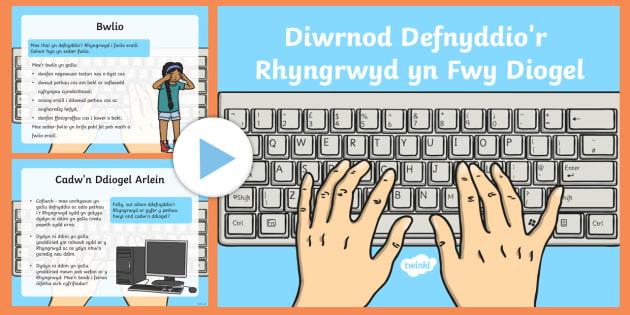 Pŵerbwynt Gwybodaeth Diwrnod Defnyddio'r Rhyngrwyd yn Fwy Diogel CA1 - E-Ddiogelwch, Cyfnod Sylfaen, Fframwaith Cymhwysedd digidol, Cyfrifiaduron, Welsh, e-ddogelwch, eddiogelwch, diwrnod e-ddiogelwch, diwrnod eddiogelwch, diogelwch ar y we,  Interne