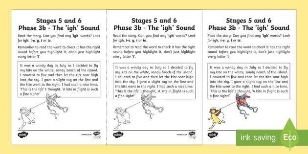 Northern Ireland Linguistic Phonics Stage 5 and 6 Phase 3b, 'igh' Sound Activity Sheet