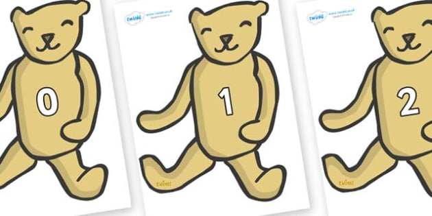 Numbers 0-50 on Old Teddy Bears - 0-50, foundation stage numeracy, Number recognition, Number flashcards, counting, number frieze, Display numbers, number posters