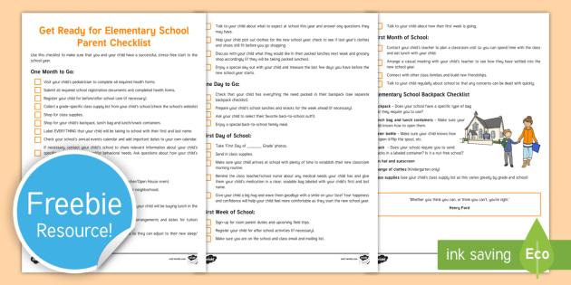Get Ready for Elementary School Parent Checklist