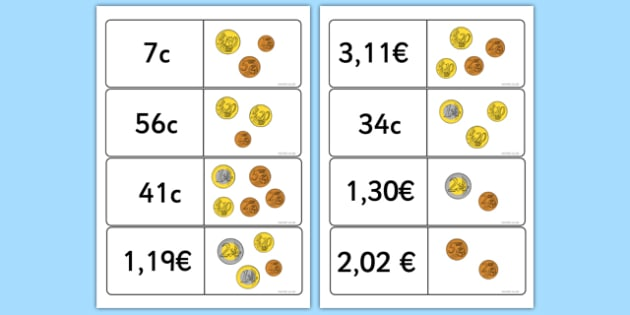 Euro Coin Value Loop Cards - money, currency, card games, game