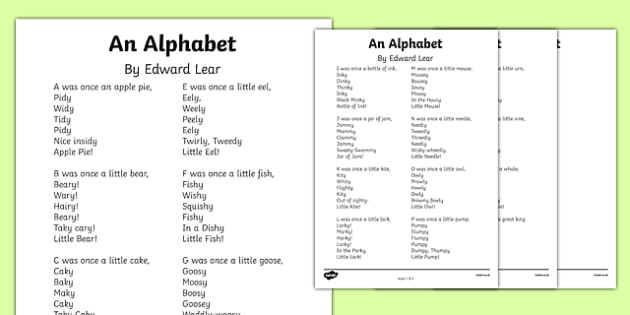 An Alphabet by Edward Lear Poem Print Out