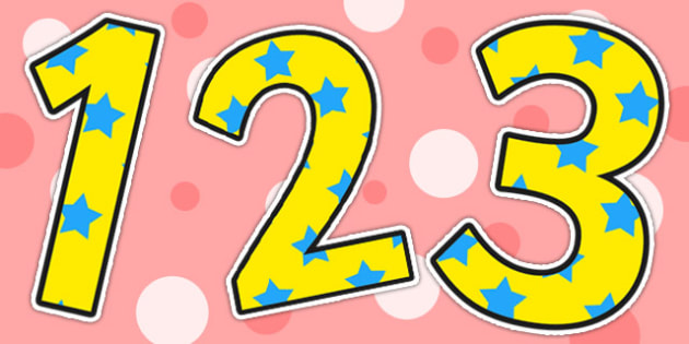 Yellow and Blue Stars Small Display Numbers - stars, numbers