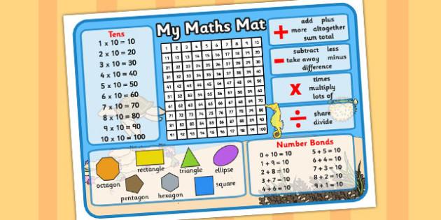 Under The Sea Themed Maths Mat - Maths, Mat, Numeracy, Aid, Sea