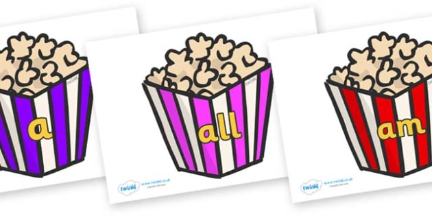 Foundation Stage 2 Keywords on Popcorn - FS2, CLL, keywords, Communication language and literacy,  Display, Key words, high frequency words, foundation stage literacy, DfES Letters and Sounds, Letters and Sounds, spelling