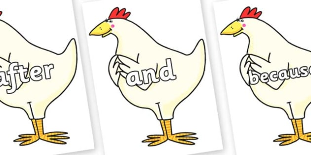 Connectives on Hullabaloo Chicken to Support Teaching on Farmyard Hullabaloo - Connectives, VCOP, connective resources, connectives display words, connective displays