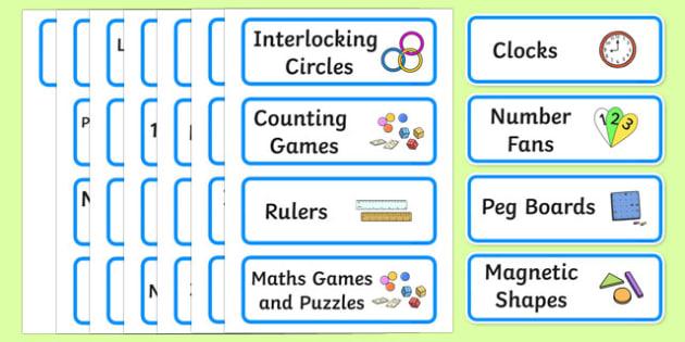 Editable Maths Area Resource Labels Blue Maths Resource
