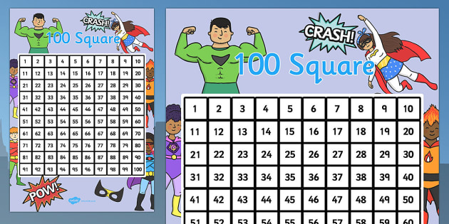 Superhero Themed 100 Square - superhero, 100 square, themed, square, 100, numbers