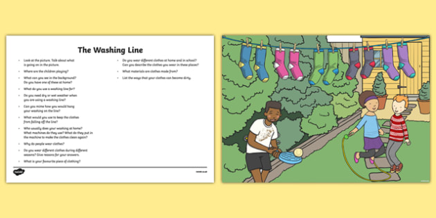 The Clothes Line Oral Language Activity Sheet-Irish, worksheet