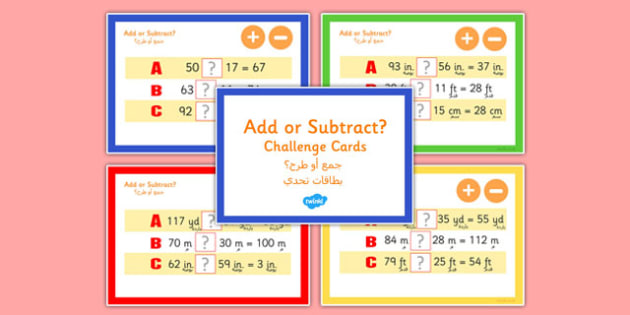 Addition and Subtraction Maths Challenge Cards Arabic Translation - arabic, addition, subtraction, maths