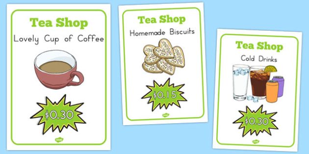 Tea Shop Role Play Display Posters - australia, tea shop, role-play, display, posters