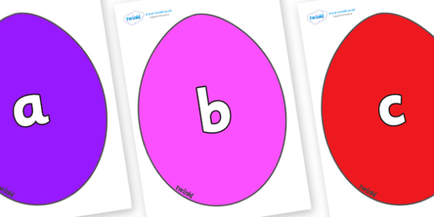Phase 2 Phonemes on Easter Eggs (Coloured) - Phonemes, phoneme, Phase 2, Phase two, Foundation, Literacy, Letters and Sounds, DfES, display