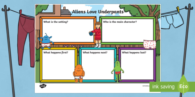Book Review Writing Frame to Support Teaching on Aliens Love Underpants - aliens love underpants, book review, books, reading, writing frame, writing aid, line guides