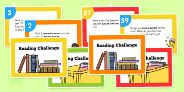 Reading Challenge Cards - reading, challenge cards, cards, read