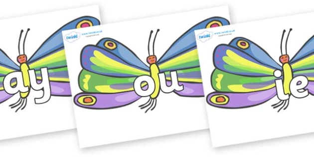 Phase 5 Phonemes on Butterflies to Support Teaching on The Very Hungry Caterpillar - Phonemes, phoneme, Phase 5, Phase five, Foundation, Literacy, Letters and Sounds, DfES, display