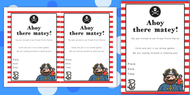 Pirate Themed Picnic and Party Invitation - invitation, pirate