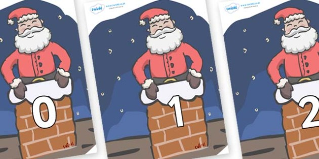 Numbers 0-31 on Santa (Chimney) - 0-31, foundation stage numeracy, Number recognition, Number flashcards, counting, number frieze, Display numbers, number posters