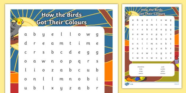 Aboriginal Dreamtime How the Birds Got Their Colours Word Search-Australia