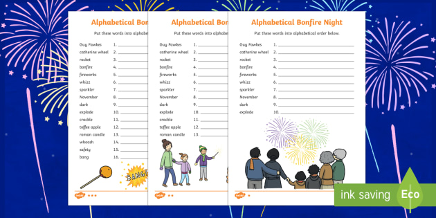 Bonfire Night Words Alphabet Ordering Activity Sheet