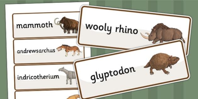 Prehistoric Beasts Word Cards - history, ks2 history, visual aid