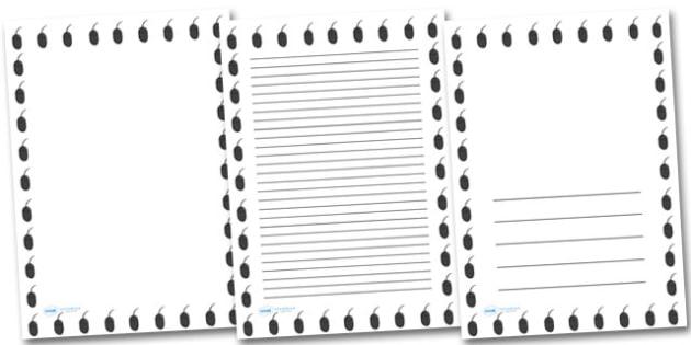 Computer Mouse Portrait Page Borders- Portrait Page Borders - Page border, border, writing template, writing aid, writing frame, a4 border, template, templates, landscape