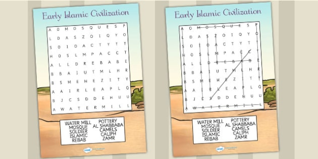 Early Islamic Civilization Differentiated Wordsearch - history