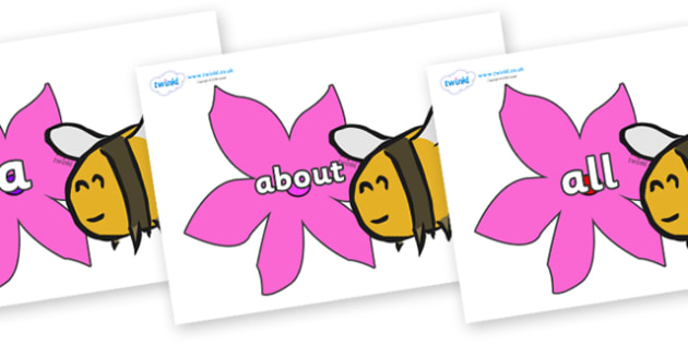 100 High Frequency Words on Bees - High frequency words, hfw, DfES Letters and Sounds, Letters and Sounds, display words