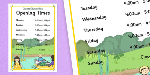Nursery Rhyme Shop Role Play Opening Times - nursery rhyme shop, nursery rhyme, rhyme, opening times