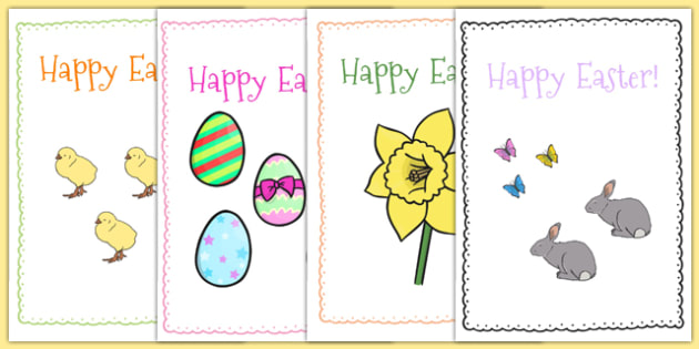 Easter Card Templates A  Easter Topic Easter Happy Easter