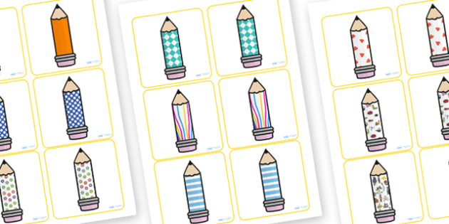 Patterned Pencils Matching Activity - matching, activity, colours