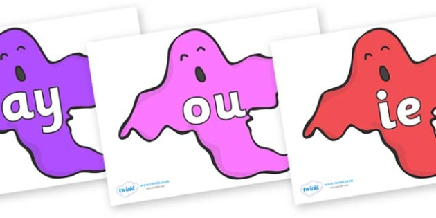 Phase 5 Phonemes on Ghosts (Multicolour) - Phonemes, phoneme, Phase 5, Phase five, Foundation, Literacy, Letters and Sounds, DfES, display