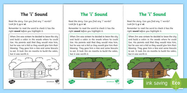 Northern Ireland Linguistic Phonics Stage 5 and 6 Phase 3b, 'i' Sound Activity Sheet - Linguistic Phonics, Phase 3b, Northern Ireland, 'i' sound, sound search, text, Worksheet