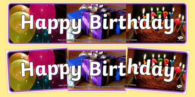 Happy Birthday Photo Display Banner - happy birthday, photo display banner, photo banner, display banner, banner,  banner for display, display photo, display