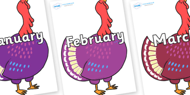Months of the Year on Hullabaloo Turkey to Support Teaching on Farmyard Hullabaloo - Months of the Year, Months poster, Months display, display, poster, frieze, Months, month, January, February, March, April, May, June, July, August, September