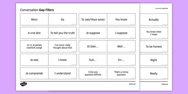 KS4 Expressions bouche-trous pour l'oral - french, Conversation, Oral, Speaking, Gap Fillers