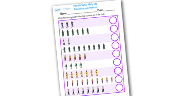 My Counting Worksheet (People Who Help Us) - Counting worksheet, People Who Help Us, counting, activity, how many, foundation numeracy, counting on, counting back, Doctor, Nurse, Teacher, Police, Fire fighter, Paramedic, Builder, Caretaker, Lollipop,