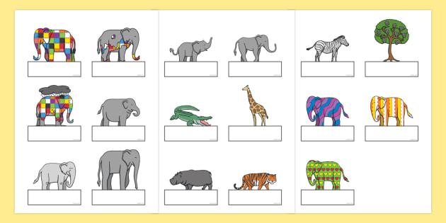 Self Registration to Support Teaching on Elmer - Elmer, Elmer the elephant, resources, Elmer story, patchwork elephant, PSHE, PSE, David McKee, colours, patterns, story, story book, story book resources, story sequencing, story resources, self regist