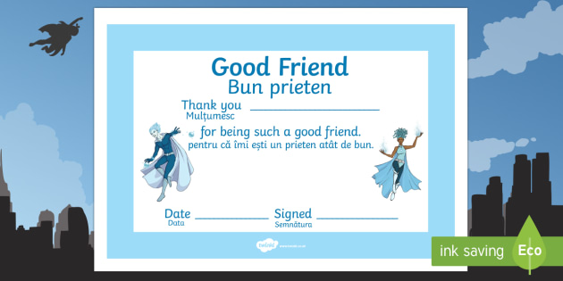 Anti Bullying Week Superhero Good Friend Certificate Romanian Translation-Romanian-translation - Anti-Bullying Week, good friend, friendshio, PSHE, PSHCE, circle time, award, certificate,Romanian-t