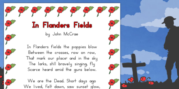 Remembrance Day Poem In Flanders Fields A4 - australia, remember