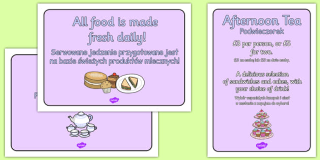 Royal Afternoon Tea Role Play Signs Polish Translation - polish, royal, afternoon tea, role play, signs, display