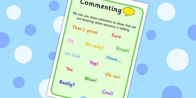 Commenting Visual Support - visual aids, SEN, comments, listening