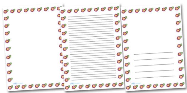 Spring Primrose Portrait Page Borders- Portrait Page Borders - Page border, border, writing template, writing aid, writing frame, a4 border, template, templates, landscape