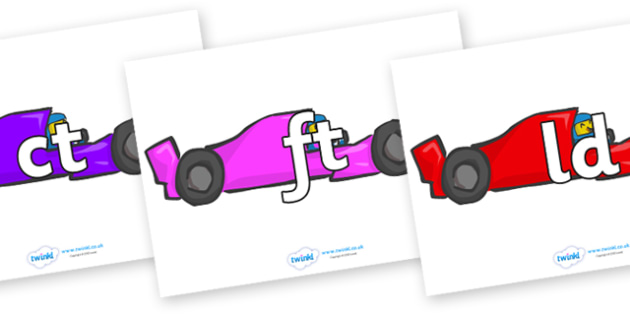 Final Letter Blends on Racing Cars - Final Letters, final letter, letter blend, letter blends, consonant, consonants, digraph, trigraph, literacy, alphabet, letters, foundation stage literacy