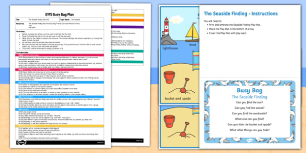 EYFS The Seaside Finding Busy Bag Plan and Resource Pack