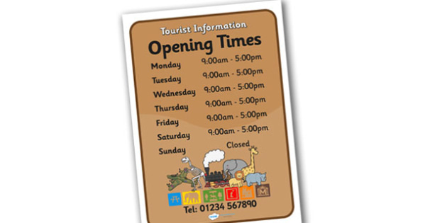 Tourist Information Role Play Opening Times - tourist information, role play, opening times, tourist opening times, tourist role play, role play times